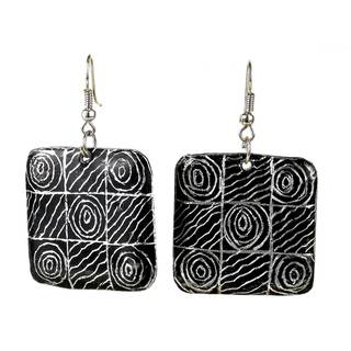 Handmade Recycled Car Pan African Motif Earrings (Mozambique)