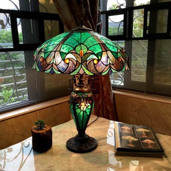 Chloe Tiffany Style Halston Double Lit 2+1 Light Table Lamp