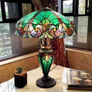 Tiffany-style Halston Dark Antique Bronze/ Teal Double Lit Table Lamp