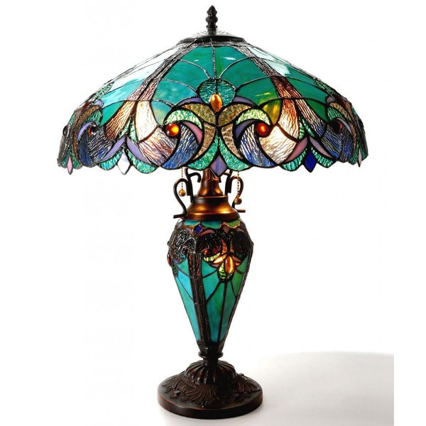 tiffany style halston double lit 2 1 light table lamp free shipping. Black Bedroom Furniture Sets. Home Design Ideas