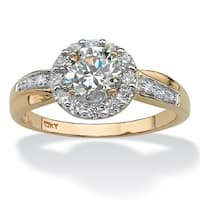 10K Yellow Gold Cubic Zirconia Engagement Ring - White