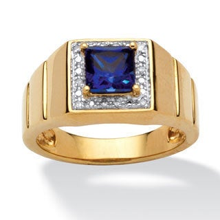 PalmBeach Men's 1-Carat Square-Cut Blue Lab Created Sapphire 18k Gold over Sterling Silver Ring