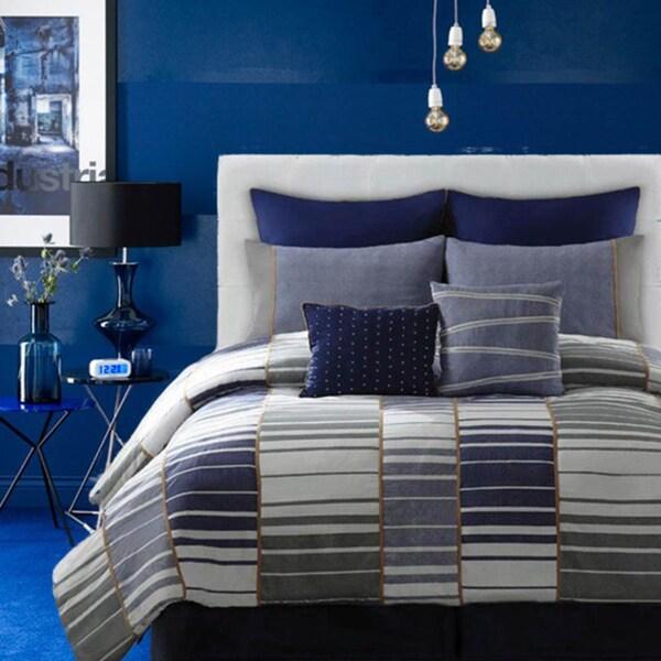 Cotton Blocked Denim 8-piece Comforter Set