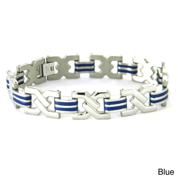 Obsessed Jewelry Stainless Steel Men's Rubber Accent Bracelet