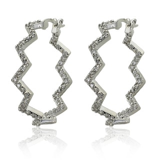 Riccova Silvertone Cubic Zirconia Squiggle Inside-out Hoop Earrings