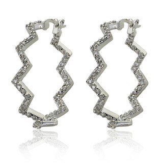 Riccova Silvertone Cubic Zirconia Squiggle Inside-out Hoop Earrings