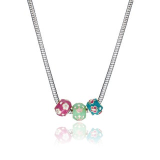 Little Miss Twin Stars Silvertone Children's Enamel Slide Bead Necklace