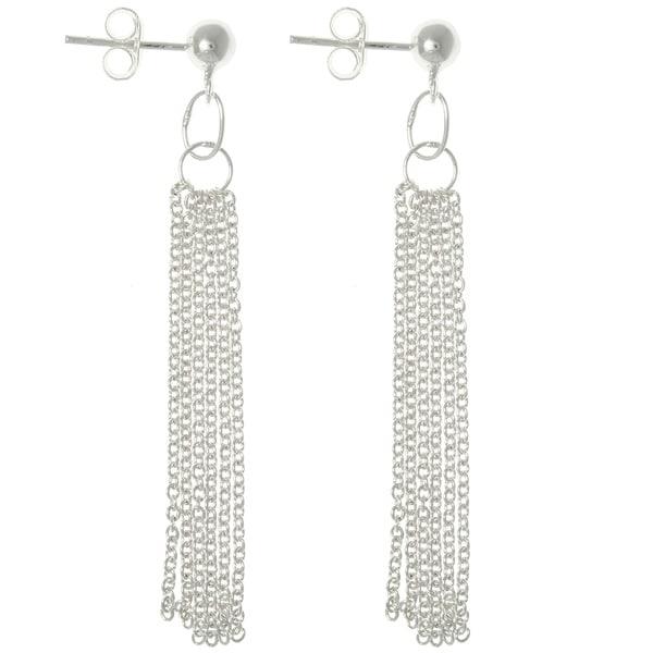 Sterling Silver Multi-chain Dangle Earrings