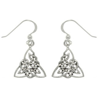 Carolina Glamour Collection Silver Celtic Triangle Knot Earrings