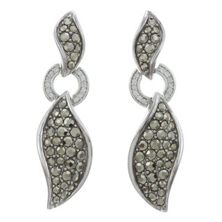 CHROMA Sterling Silver CZ Earrings Made with Swarovski Element MARCASITE