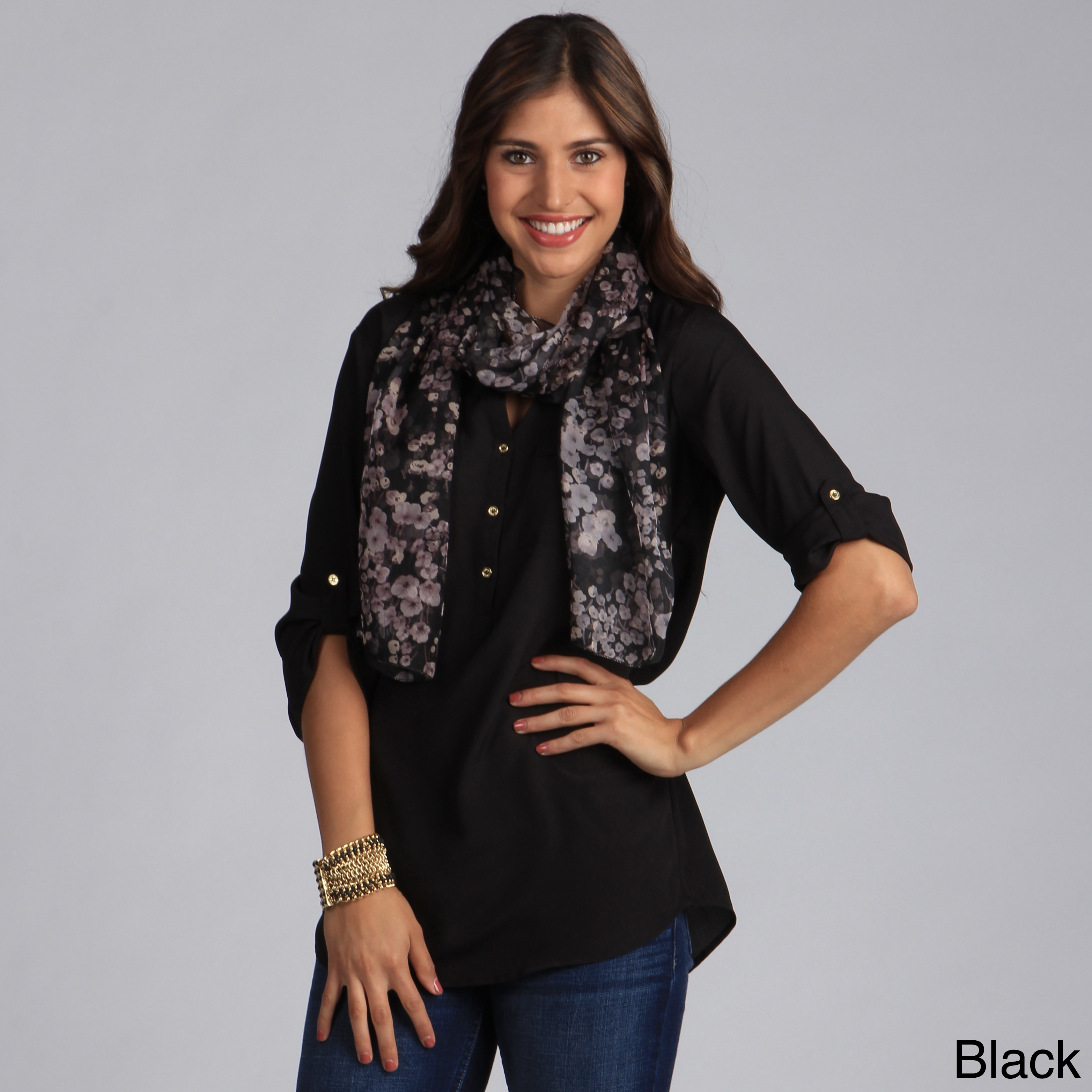 Saro Women's Floral Design Scarf (Black), Size One Size F...