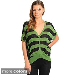Stanzino Women's Striped Button Down V-neck Cardigan Top