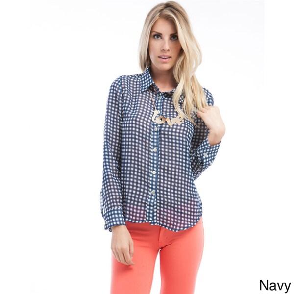 Stanzino Women's Checkered Long Sleeve Button Down Shirt