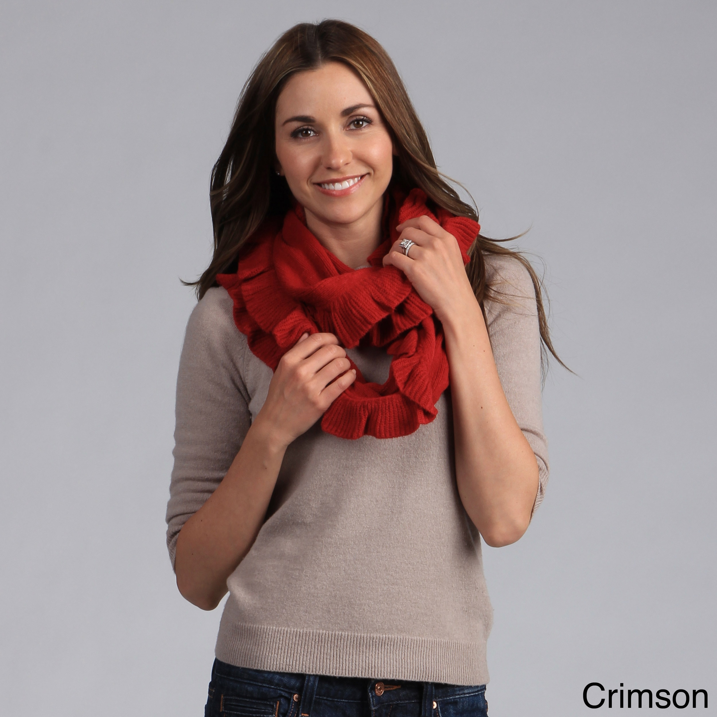 Saro Women's Ruffled Infinity Scarf (Red), Size One Size ...