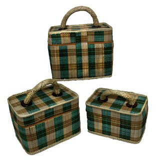 3-piece Palm Plaid Makeup Case Set (Indonesia)
