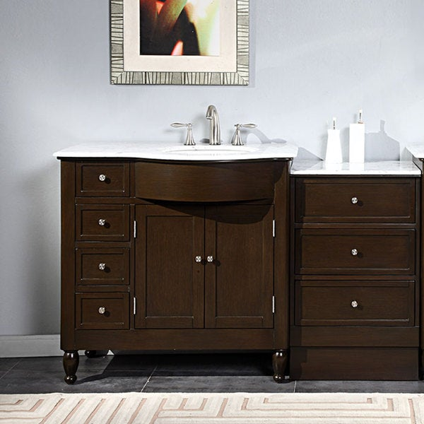 off center sink bathroom vanity shop silkroad exclusive 58 inch carrara white marble 23873