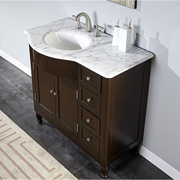 Silkroad Exclusive 38 Inch Carrara White Marble Stone Top Bathroom Off Center Single Sink Vanity