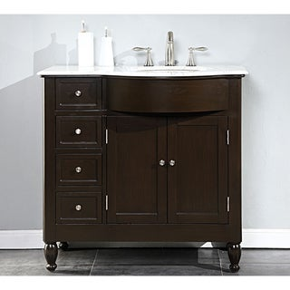 Silkroad Exclusive 38-inch Carrara White Marble Stone Top Bathroom Single Vanity (Sink on the Right)