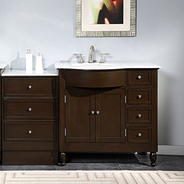 Silkroad Exclusive 58 Inch Carrara White Marble Stone Top Bathroom Single Sink Vanity Left Side