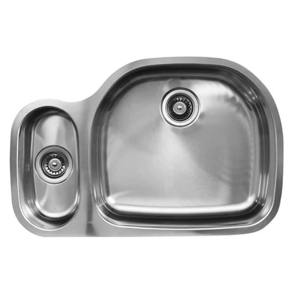 Ukinox D537.80.20.8R 80/20 Double Basin Stainless Steel Undermount Kitchen Sink