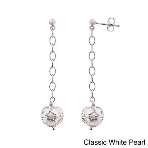 Pearlyta Sterling Silver Colored Freshwater Pearl Dangle Earrings (8-9mm) - peacock