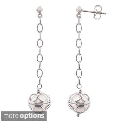 Pearlyta Sterling Silver Colored Freshwater Pearl Dangle Earrings (8-9mm)