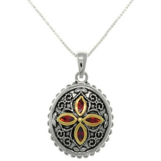 Carolina Glamour Collection Sterling Silver Bali Flower Medallion Necklace