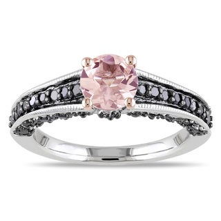 Miadora Sterling Silver Morganite and 1/3ct TDW Black Diamond Ring