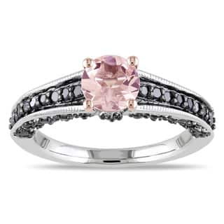 Miadora Sterling Silver Morganite and 1/3ct TDW Black Diamond Ring|https://ak1.ostkcdn.com/images/products/7966425/7966425/Miadora-Sterling-Silver-Morganite-and-1-3ct-TDW-Black-Diamond-Ring-P15337415.jpg?impolicy=medium