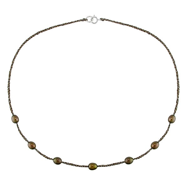 M by Miadora Sterling Silver Brown Cultured Freshwater Pearl Necklace (6-7 mm)