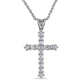 Miadora 10K White Gold 1/4ct TDW Diamond Cross Pendant Necklace