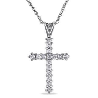 Miadora 10K White Gold 1/4ct TDW Diamond Cross Pendant Necklace|https://ak1.ostkcdn.com/images/products/7966431/P15337420.jpg?impolicy=medium
