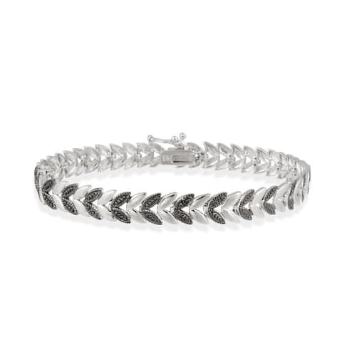 DB Designs Rhodium-plated Black Diamond Accent Leaf Bracelet