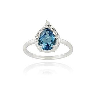 Glitzy Rocks Sterling Silver 3 3/4 TGW London Blue Topaz and CZ Ring