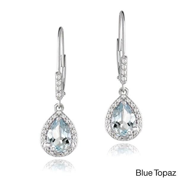 Glitzy Rocks Sterling Silver Gemstone and Diamond Teardrop Earrings