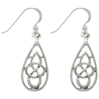 Silver Celtic Teardrop Knot Earrings