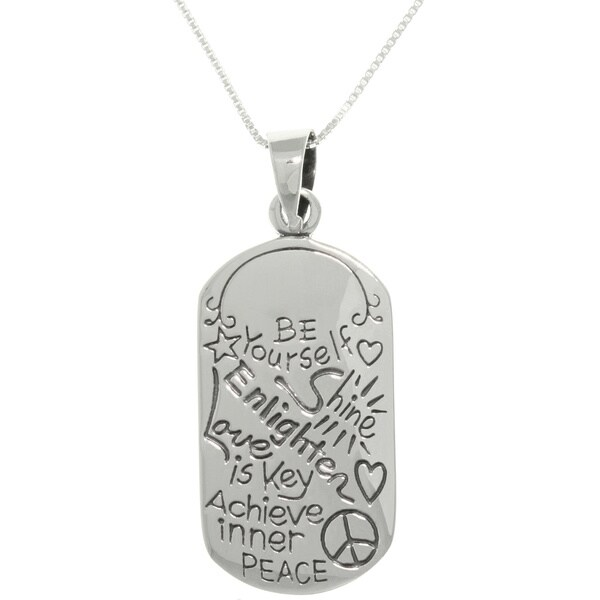 Sterling Silver Peace Dog Tag Necklace