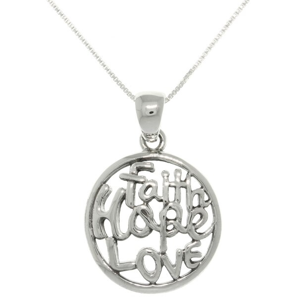Carolina Glamour Collection Sterling Silver 'Faith Hope Love' Necklace
