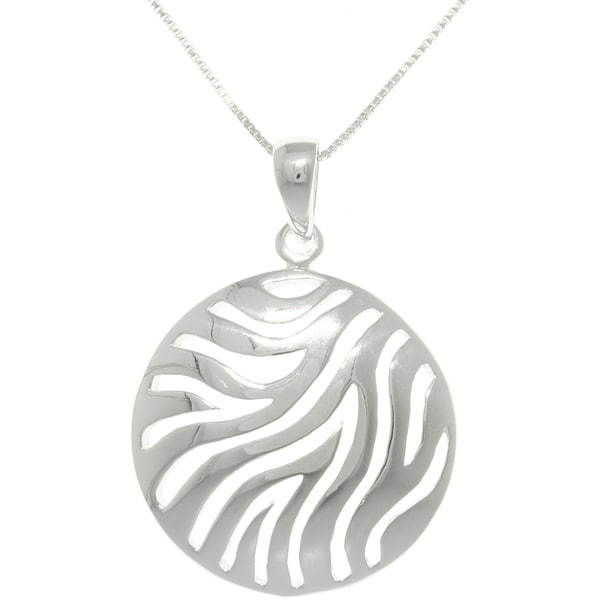 Sterling Silver Zebra Print Circle Pendant on 18-inch Necklace