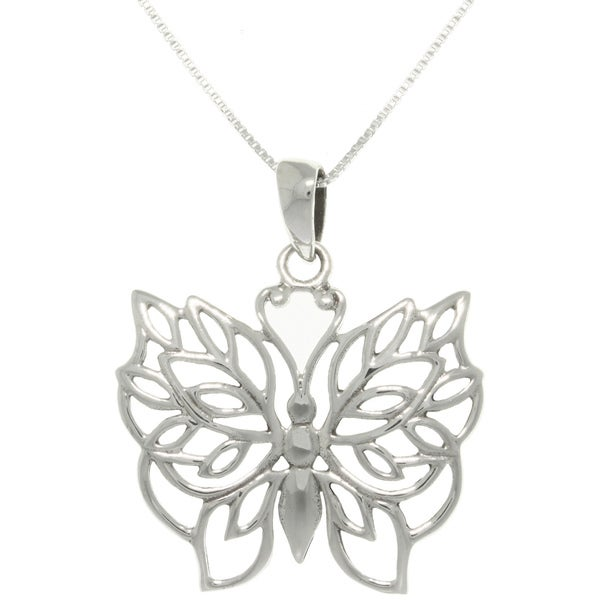 Carolina Glamour Collection Silver Natural Love Butterfly Necklace