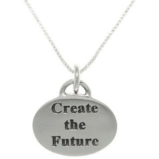 Carolina Glamour Collection Sterling Silver 'Create The Future' Inspirational Necklace