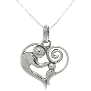 Carolina Glamour Collection Sterling Silver Heart Pendant Necklace of mother and child