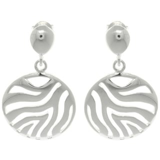 Carolina Glamour Collection Sterling Cut-out Silver Zebra Circle Dangle Earrings