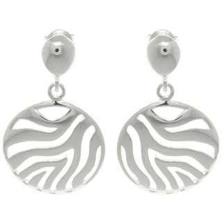 Sterling Cut-out Silver Zebra Circle Dangle Earrings