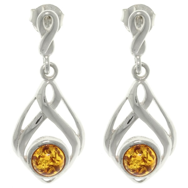 Carolina Glamour Collection Sterling Silver Baltic Amber Drop Dangle Earrings