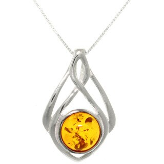 Sterling Silver Baltic Amber Drop Pendant Necklace - Green