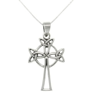 Carolina Glamour Collection Sterling Silver Triple Trinity Knot Celtic Cross Necklace