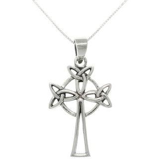Sterling Silver Triple Trinity Knot Celtic Cross Necklace