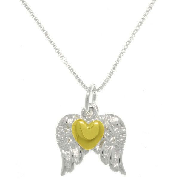 Carolina Glamour Collection Sterling Silver Heart Of Gold Angel Wings Necklace