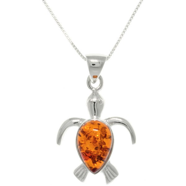 Carolina Glamour Collection Sterling Silver Baltic Amber Sea Turtle Necklace